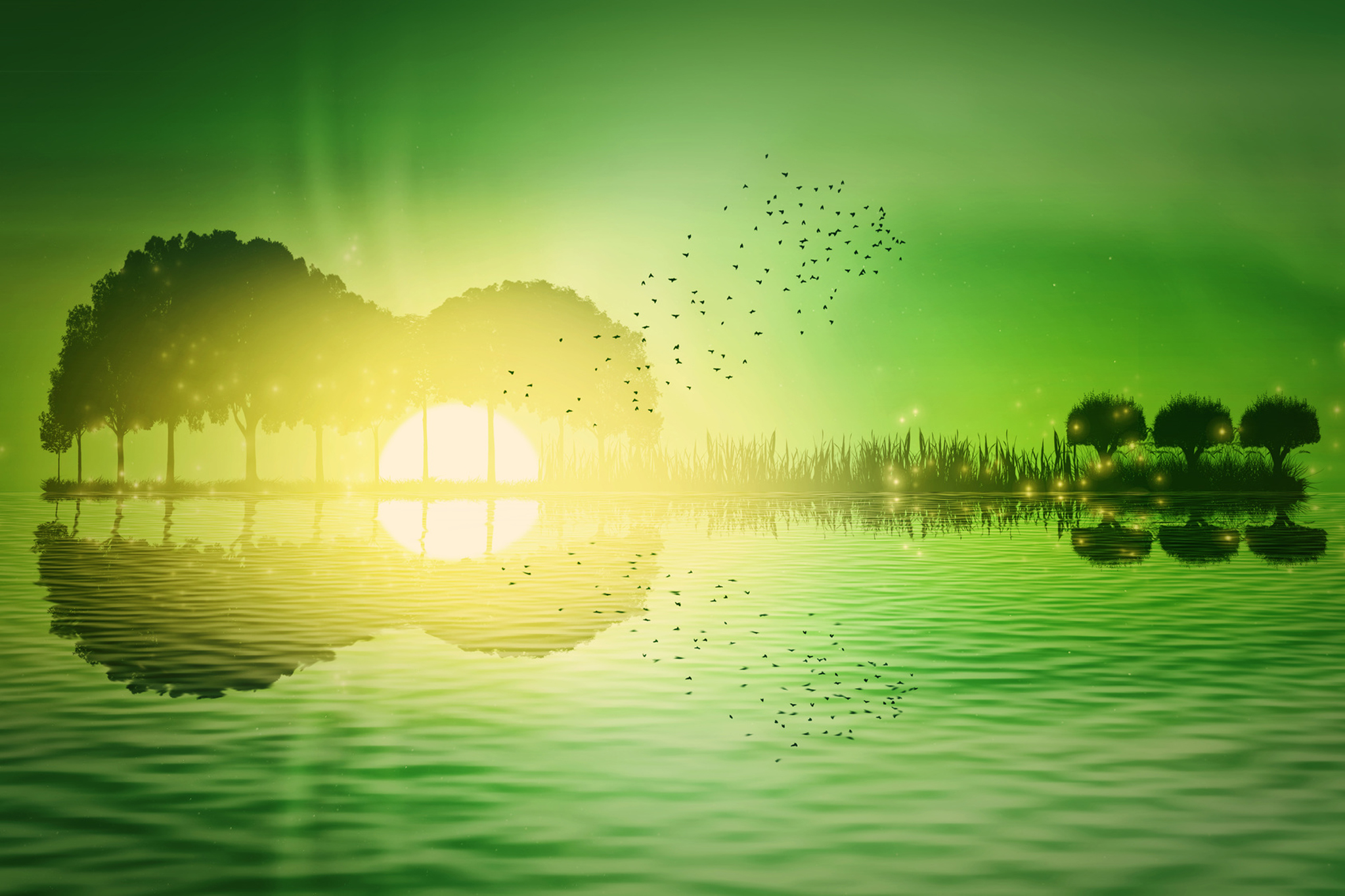 Trees and grass arranged in a shape of a guitar on a green tropical sunset background. Music island with a guitar reflection in water